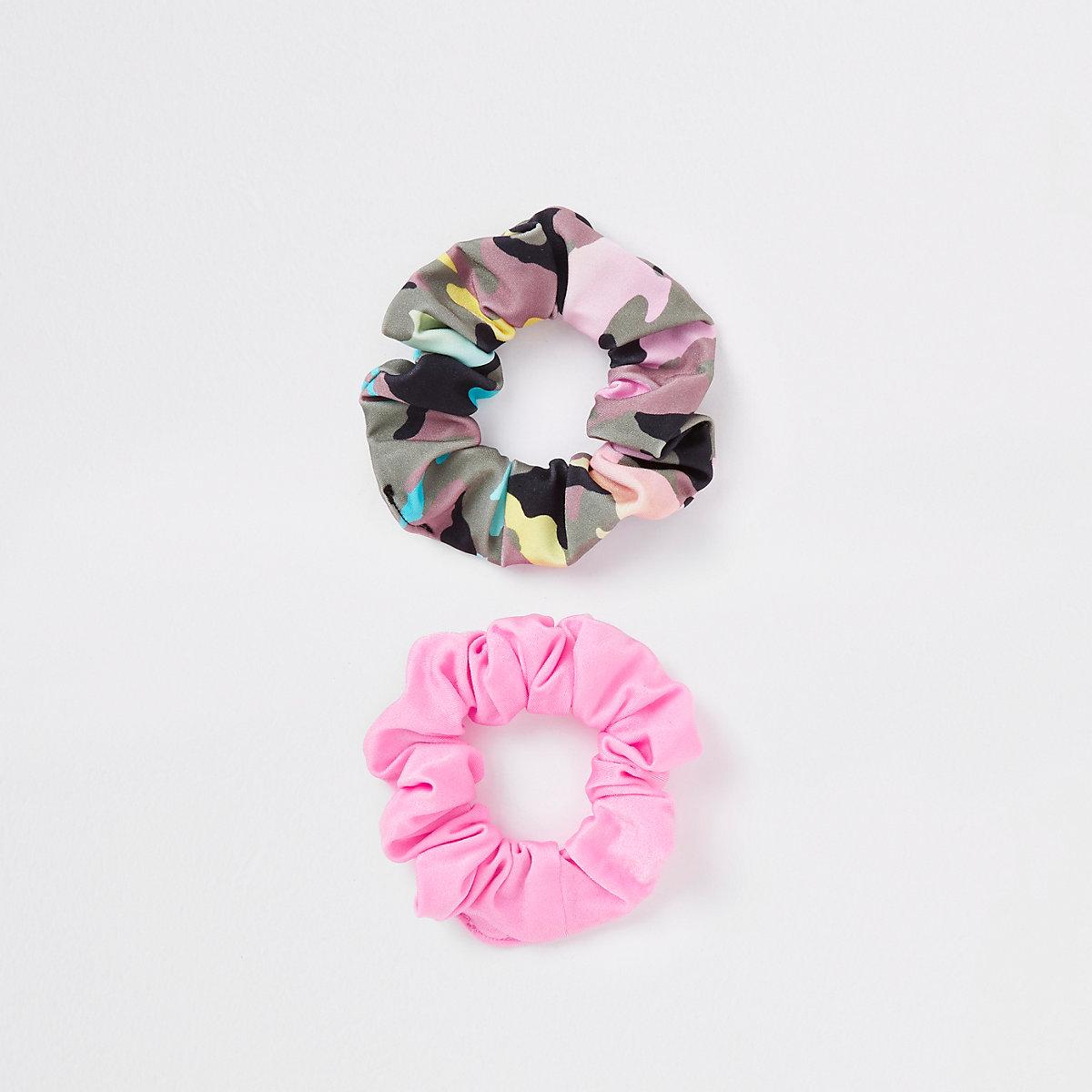 Pink Camo + Pink 2pk Scrunchie