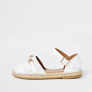 Girls white snaffle espadrille sandals