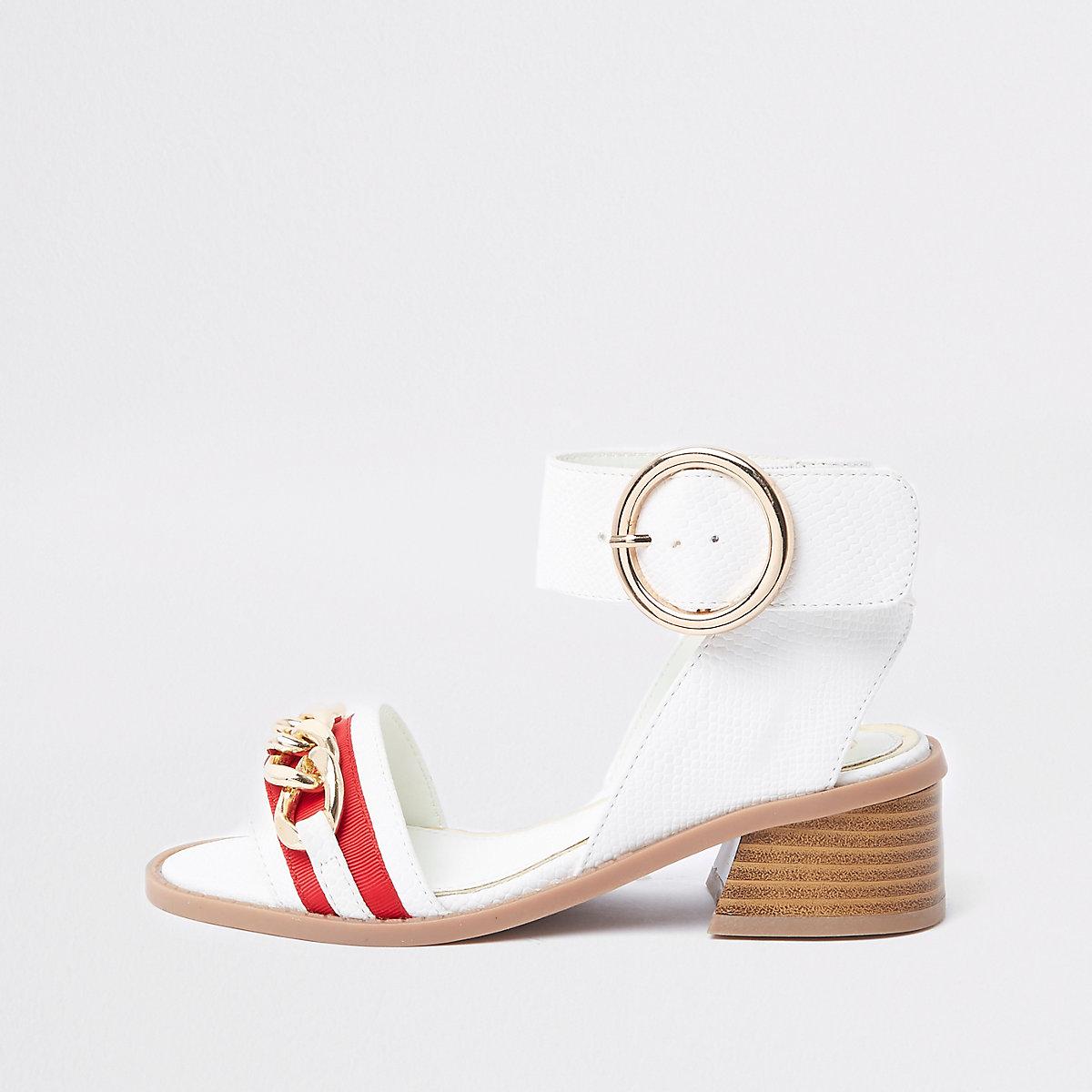 Girls white chain flared heel sandals