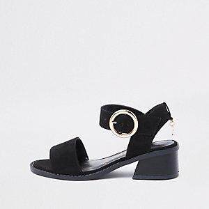 Zwarte sandalen met uitlopende hak voor meisjes