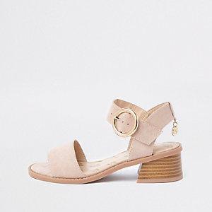Beige sandalen met uitlopende hakken voor meisjes