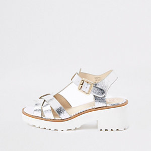 Sandales épaisses argentées métallisées pour fille