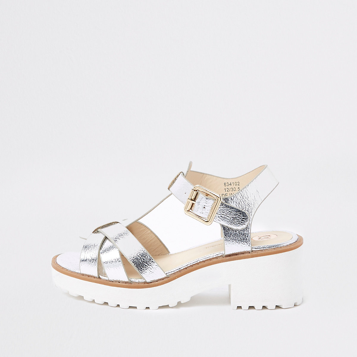 Girls silver metallic clumpy sandals