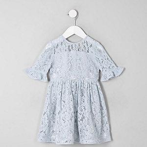 Mini - Blauwe kanten avondjurk met strik op de rug voor meisjes