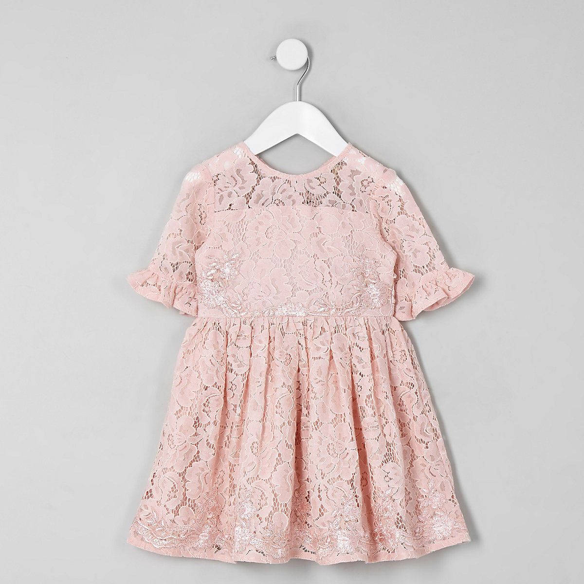 Mini girls pink lace bow back prom dress