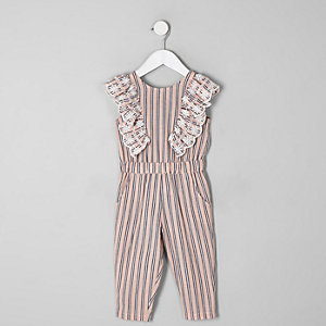 Mini girls pink stripe frill jumpsuit