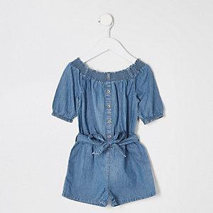 Blauer Bardot-Jeans-Overall