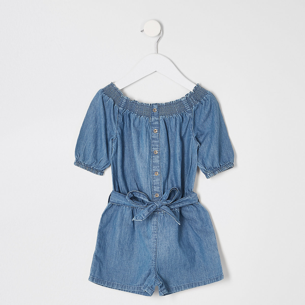 4abfc7f56d3 Mini girls blue bardot denim playsuit - Baby Girls Playsuits   Jumpsuits -  Mini Girls - girls
