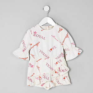 Mini girls white slogan print skort romper