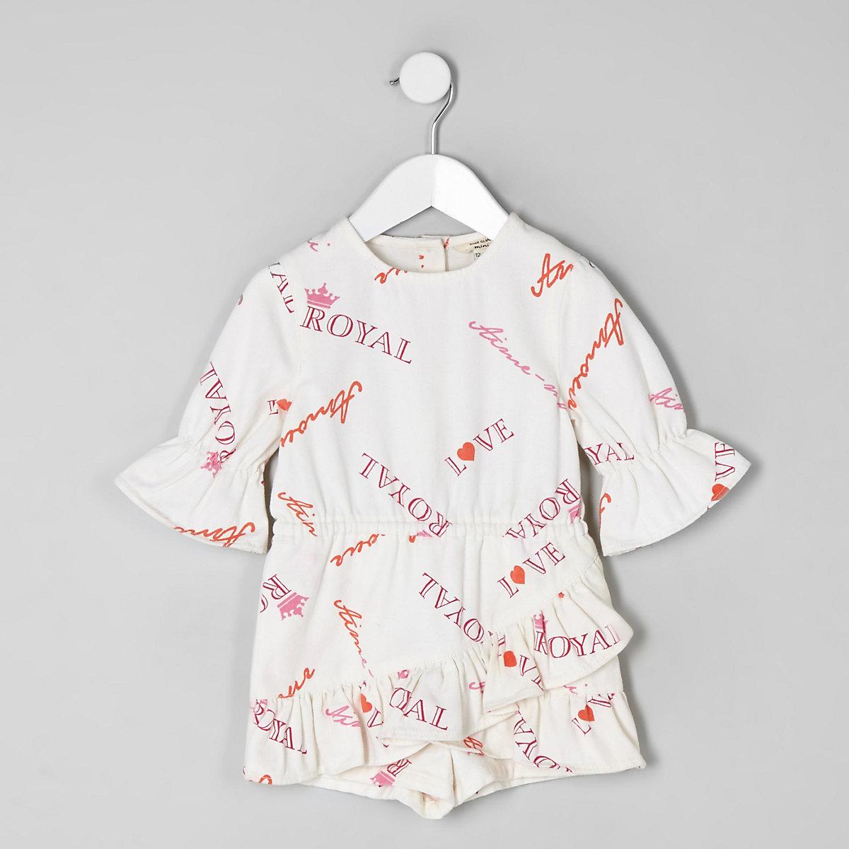 Mini girls white slogan print skort romper