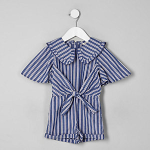 Mini girls blue stripe collar playsuit