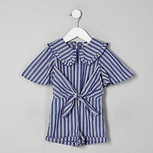 Combi-short rayé bleu avec col fantaisie pour mini fille