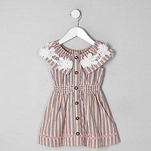 Robe rayée rose mini fille