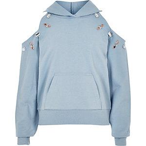 Sweat à capuche bleu orné à épaules dénudées pour fille