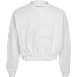 Sweat «Love more» blanc pour fille