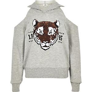 Girls grey sequin tiger cold shoulder hoodie