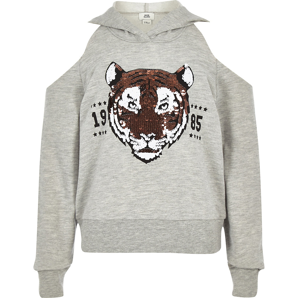 Girls grey sequin tiger cold shoulder hoodie