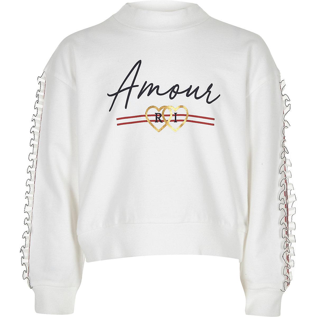 Girls white 'Amour' frill trim sweatshirt
