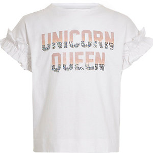 Girls white 'Unicorn queen' sequin T-shirt