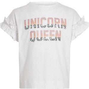 """Weißes, paillettenverziertes T-Shirt """"Unicorn queen"""""""