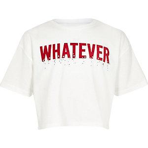 Wit T-shirt met bies en 'Whatever'-print voor meisjes