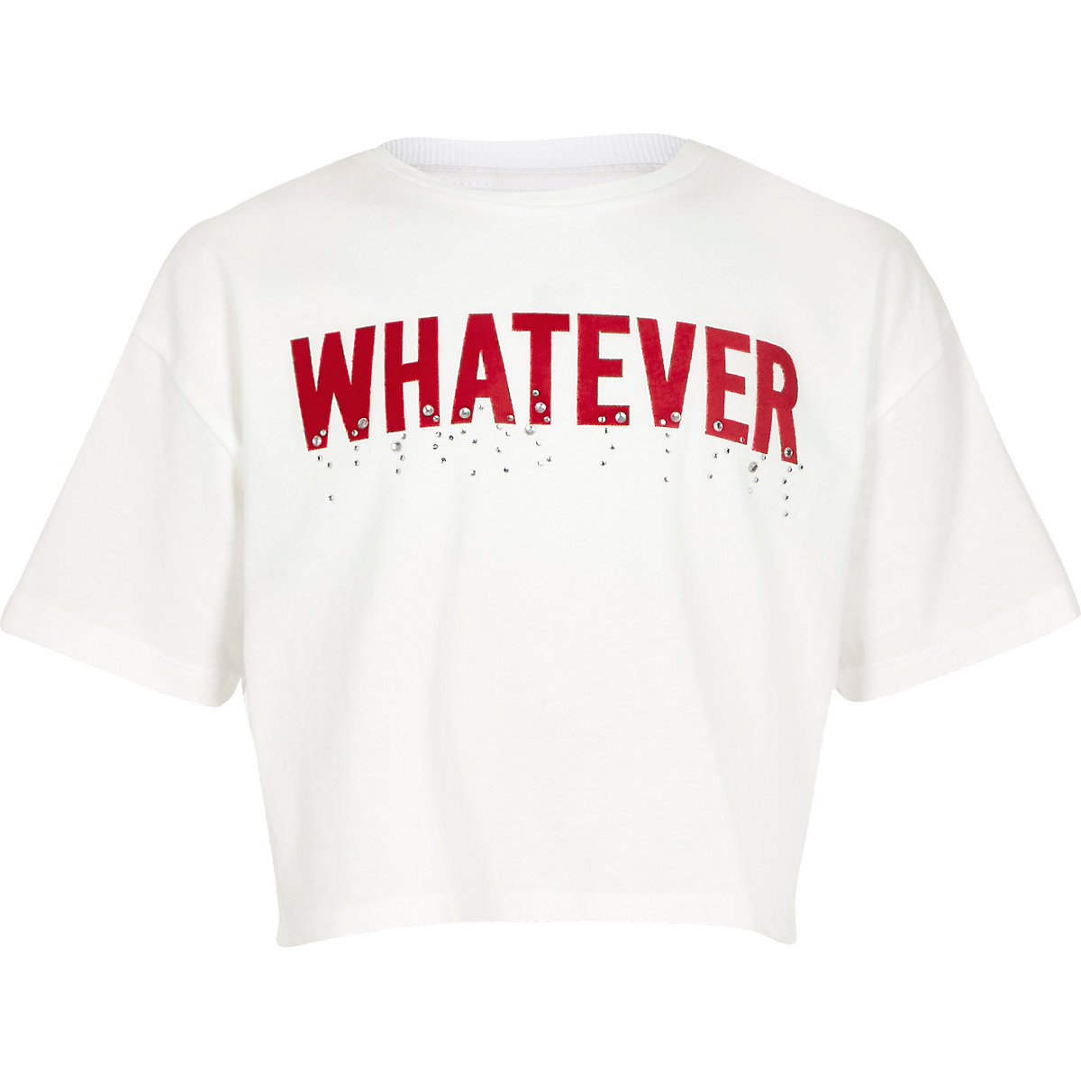 Girls white 'Whatever' tape T-shirt