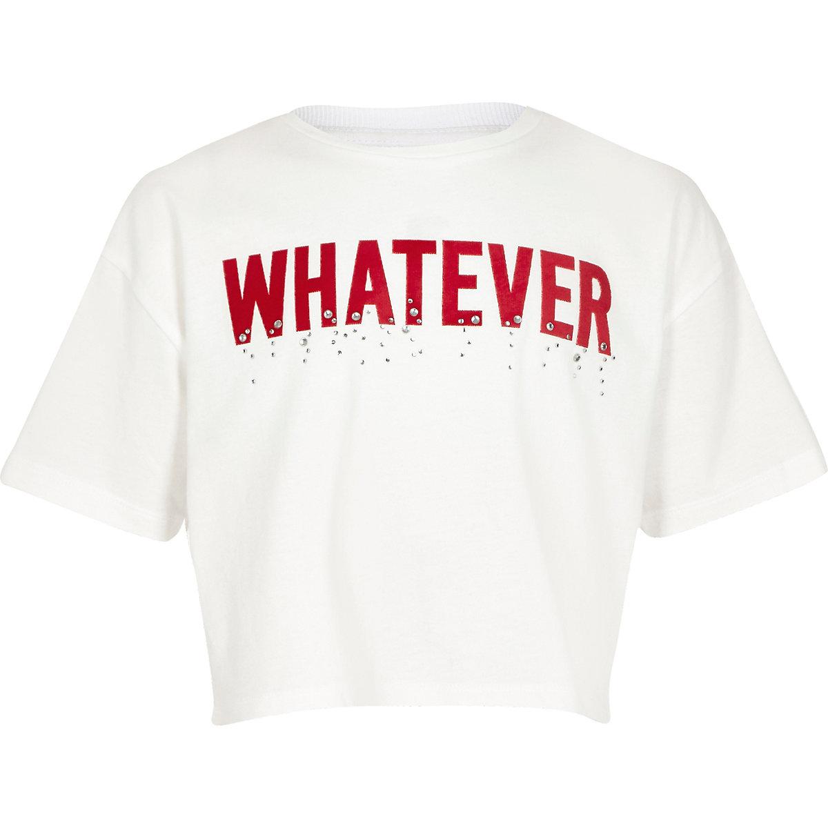 Girls white 'Whatever' tape T-shirt