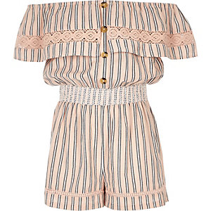 Girls pink stripe bardot romper