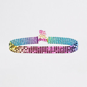 Girls pink rainbow disc choker