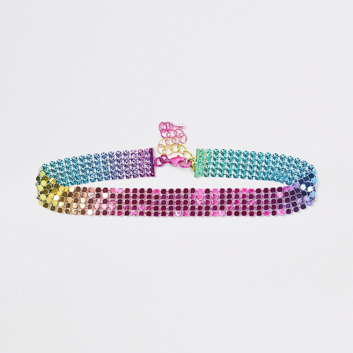 Girls pink rainbow disc choker
