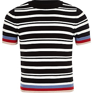 Mini girls black stripe fitted T-shirt