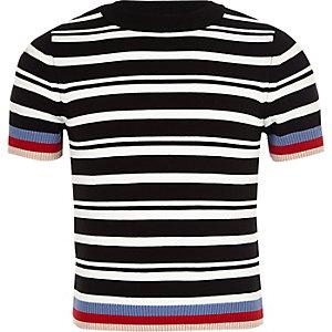 T-shirt ajusté à rayures noir pour mini fille