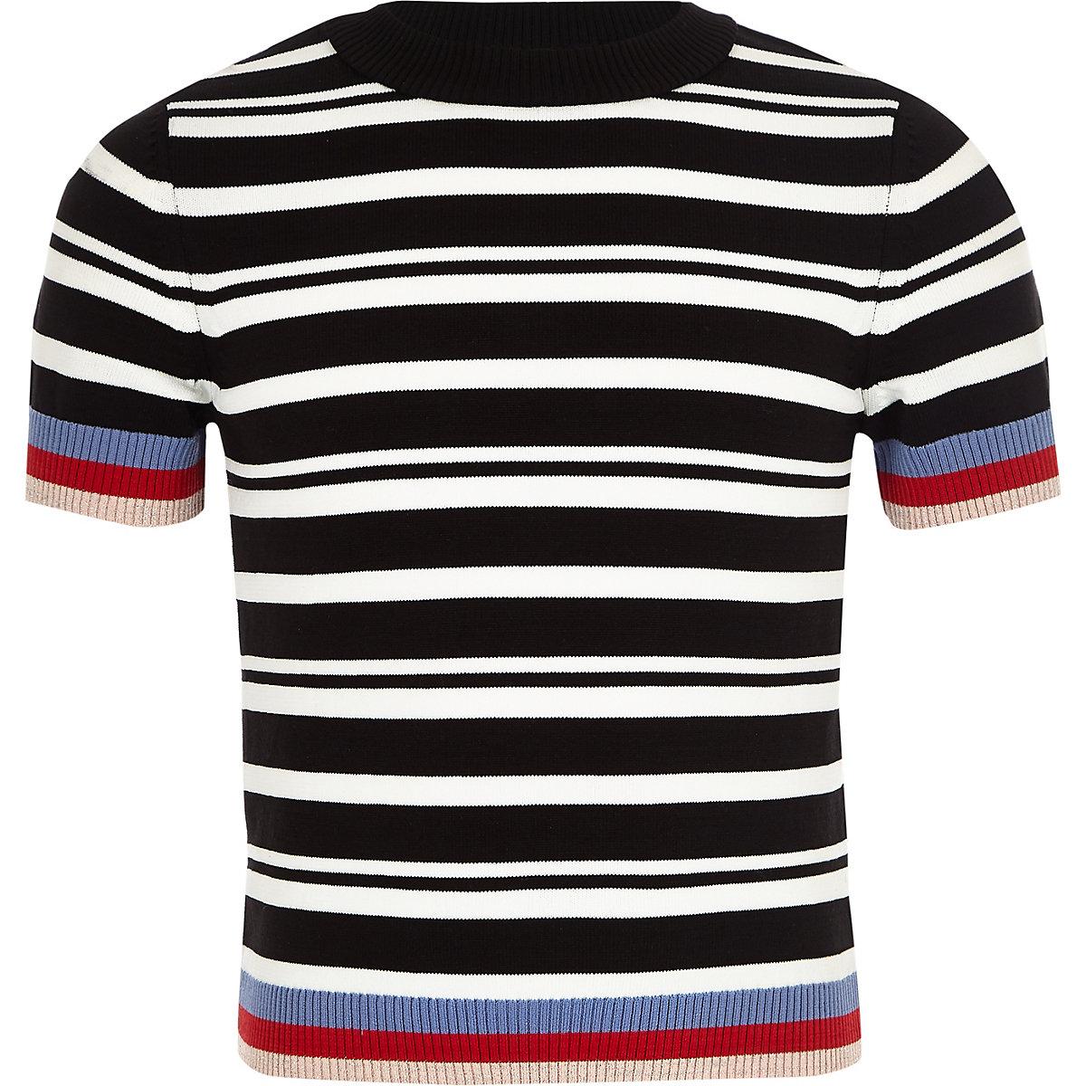 Mini girls black stripe fitted T-shirt