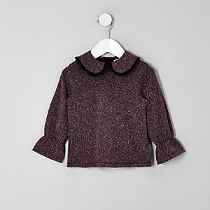 Mini girls purple metallic frill collar top