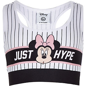Girls white Hype Minnie Mouse stripe crop top