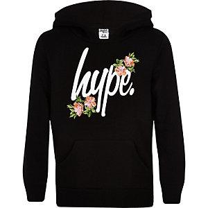 Hype - Zwarte hoodie met bloemenprint voor meisjes