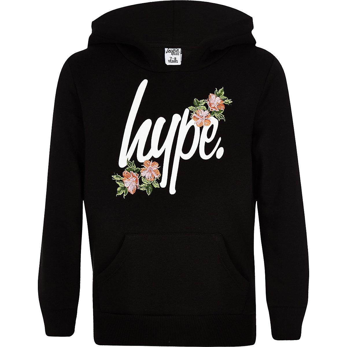 Girls Hype black floral hoodie