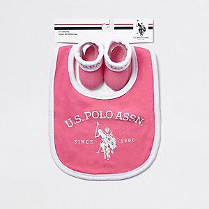 U.S. POLO ASSN. – Ensemble avec bavoir rose pour bébé