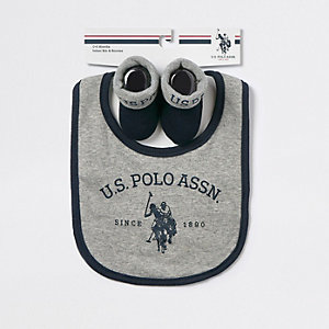 Baby U.S. POLO ASSN. grey bib set