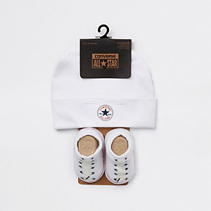 Baby Converse All Star white hat set
