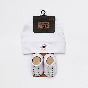 Converse All Star – Ensemble avec bonnet blanc pour bébé