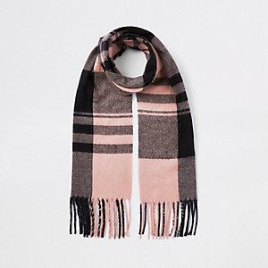 Écharpe à carreaux rose pour fille