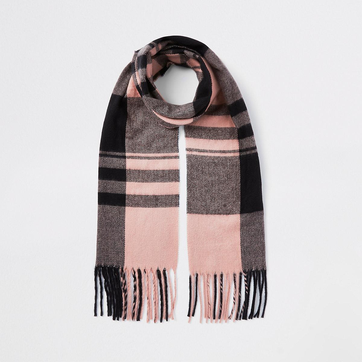 Girls pink check scarf