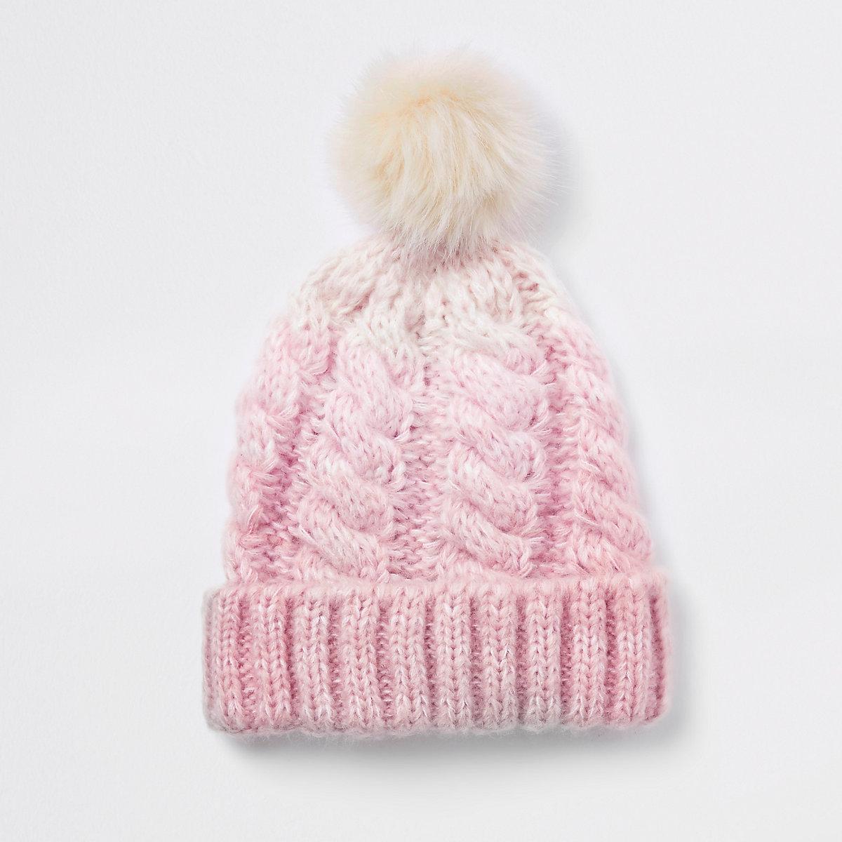 ... Ensemble bonnet à pompon en fausse fourrure rose effet dégradé pour  fille ... 018080e554e