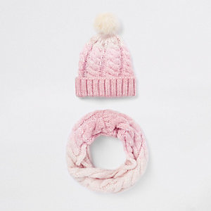 Girls pink ombre faux fur pom pom hat set