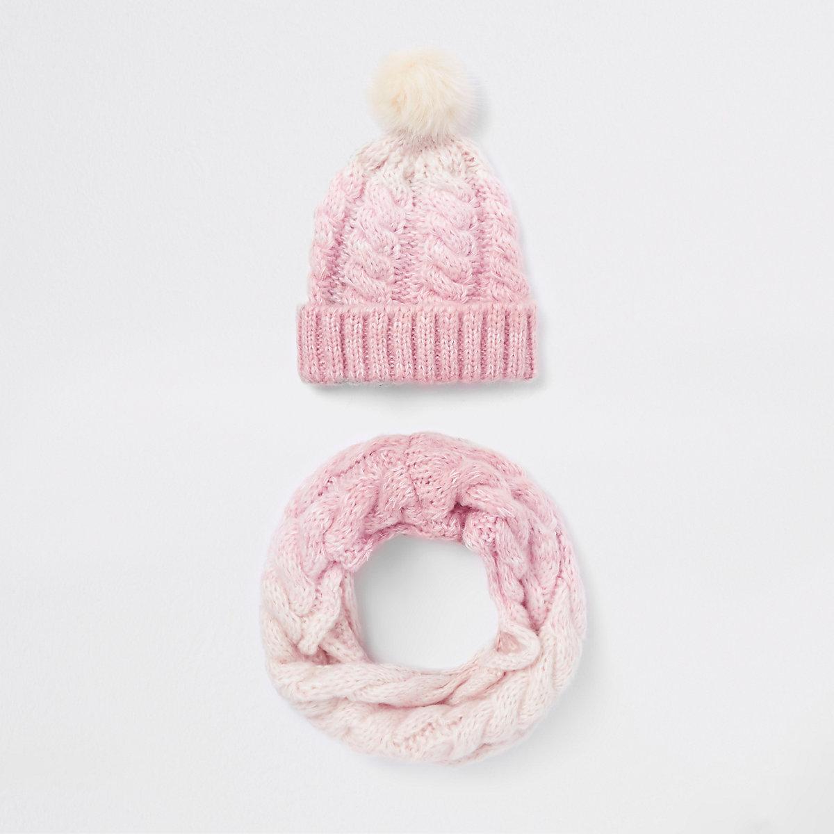 Girls pink ombre faux fur pom pom hat set
