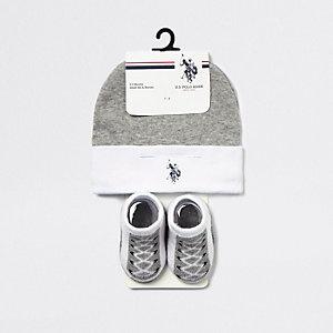 U.S. POLO ASSN. – Ensemble avec bonnet gris pour bébé