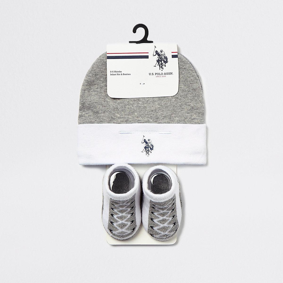 Baby U.S. POLO ASSN. grey hat set
