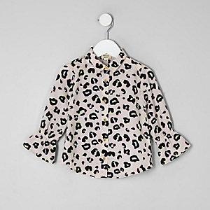 Mini - Lila blouse met luipaardprint voor meisjes