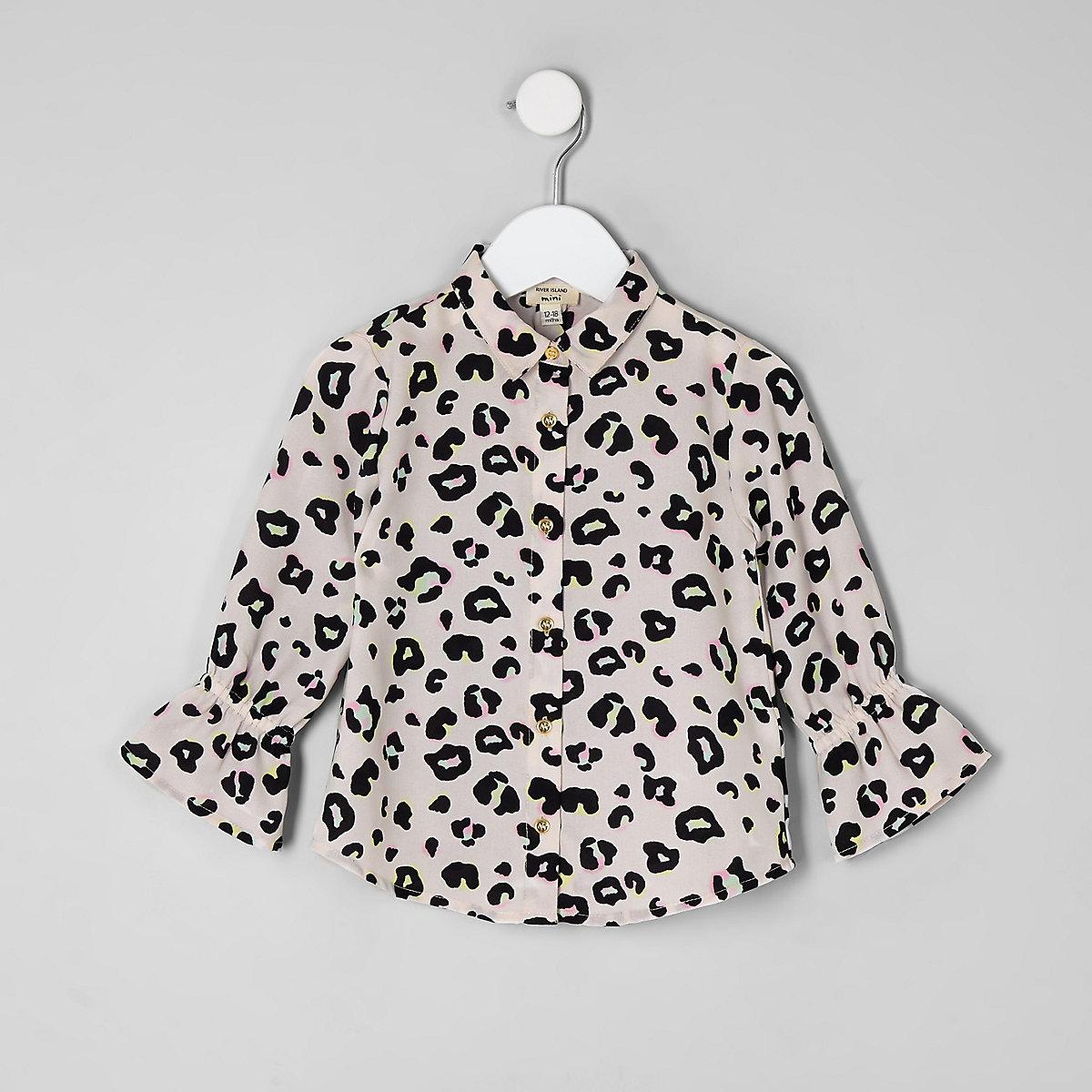 Mini girls lilac leopard print shirt